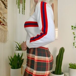 Vintage 70s white red striped acrylic sweater XS